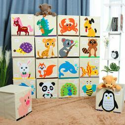 Foldable Fabric Cartoon Storage Bins Toy Box Cube Baskets fo