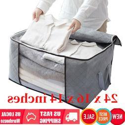 Foldable Large Non-woven Clothes Quilt Blanket Zipper Storag
