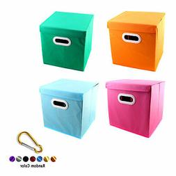 Foldable Solid Color Fabric Storage Bin Toy Box With Cover C