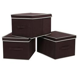 SONGMICS Large Storage Cubes Bin Box with Lids and Handles,