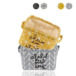 2 Pack Small Foldable Storage Basket Canvas Fabric Waterproo