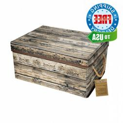 Livememory Foldable Storage Bin Box with Lid and Wood Grain-