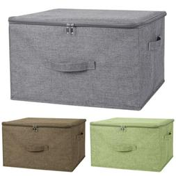 Foldable Storage Bin Cube Boxes with Zipper Lids Linen Fabri