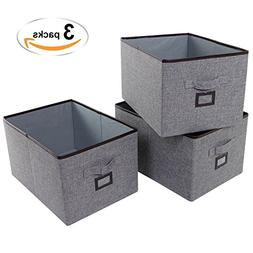 Lifewit Polyester Storage Bins with Label Holder Foldable Ba