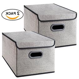 Homyfort Foldable Storage Bins Cube Boxes with Lid, Linen Po