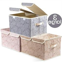 Large Foldable Storage Bins with Lids  Fabric Decorative Sto