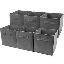 Sorbus Foldable Storage Cube Basket Bin, 6 Pack, Grey
