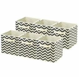Sorbus Foldable Storage Cube Basket Bin, 6 Pack,Chevron Patt