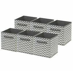 Foldable Storage Cube Basket Bin, 6 Pack, Gray Pattern