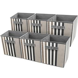 Sorbus Foldable Storage Cube Basket Bin, Vertical Stripe Lin