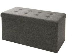 Seville Classics Foldable Tufted Storage Bench/Ottoman with