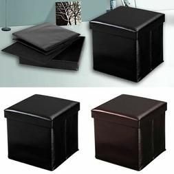 Folding Cube Faux Leather Ottoman Pouffe Storage Box Lounge
