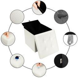 Folding Cube Ottoman Pouffe Storage Box Leather Footstool Lo