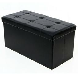 Folding Cuboid Ottoman Bench Pouffe Storage Box Lounge Seat