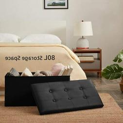 Folding PU Leather Ottoman Bench Pouffe Storage Box Lounge S