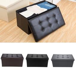 Folding PU Leather Ottoman Bench Pouffe Storage Box Lounge S