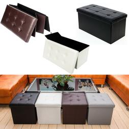 Folding Storage Box Chest Ottomans Seat Bench Foot Rest Stoo