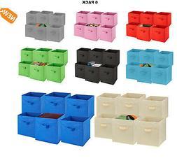 Folding Storage Cubes 6 PACK Shelf Organizer Bins Collapsibl