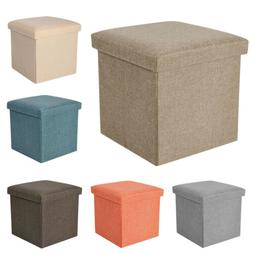 Folding Storage Stool Ottoman Box Bench Collapsible Chest Fo