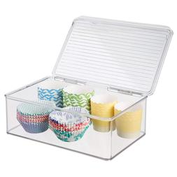 Freezer Storage Container Box mDesign with Hinged Lid 3.25 Q