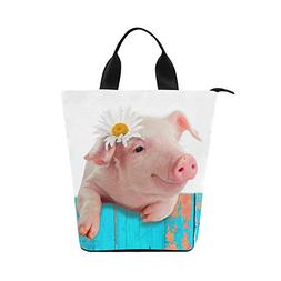 InterestPrint Funny Piglet with Flower Nylon Cylinder Lunch