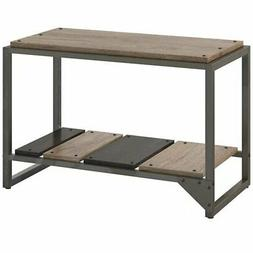 Bush Furniture Refinery Shoe Storage Bench in Rustic Gray