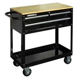 Garage 3-Drawer Rolling Tool Cart with Wood Top Mechanic Aut