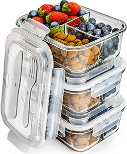 Glass Meal Prep Containers 3 Compartment - Bento Box Contain