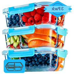 Glass Meal Prep Containers 3 Compartment, 3 Pack, 35 Oz, Foo