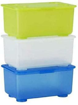Ikea Glis Box With Lid White Light Green Blue / 3 Pack 800.9