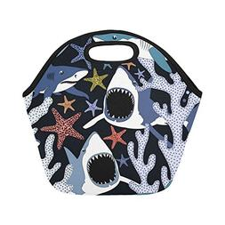 Gogogosky Neoprene Dangerous Sharks Lunch Bag Lunch Box Lunc