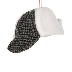 Grey Black Houndstooth Hunter's Hat 4.5 x 2 Inch Polyester C
