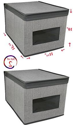 Set of 2 Heather Grey Storage Box with See-Through Window, G