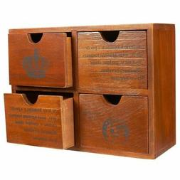 Set of 4 Drawer Wooden Storage Organizer - Small Desktop Dec