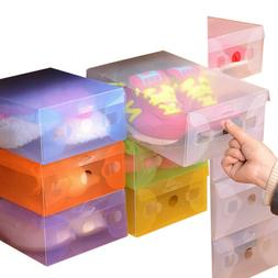 Home Plastic Clear Shoes Boots Box Foldable Stackable Tidy B
