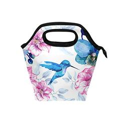 Naanle Hummingbird and Orchid Fowers Insulated Zipper Lunch