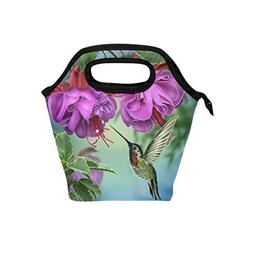 Naanle Hummingbirds with Purple Floral Insulated Zipper Lunc