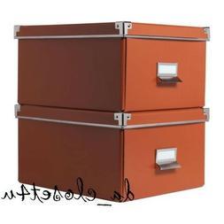 IKEA KASSETT Storage BOX 2 pack w/ Lid Orange 8 ¼ x 10 ¼ x