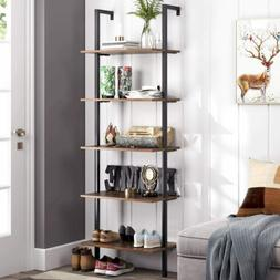 Industrial 5-Tier Ladder Shelf Bookcase Wall-mounted Wood St