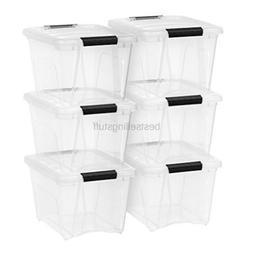 IRIS USA, Inc. TB-17 Stack & Pull Box, 19 Quart, Clear, 6 Pa