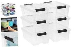 IRIS USA, Inc. TB-42 12 Quart Stack & Pull Box, Clear, 6 Sta