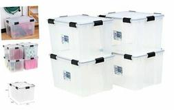 IRIS USA UCB-LDD Weathertight Storage Box, 4 Pack, 74 Quart,
