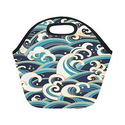 InterestPrint Japanese Ocean Wave Reusable Insulated Neopren