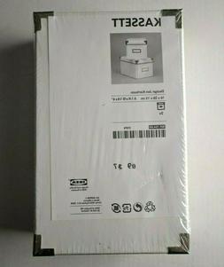 """Ikea Kassett 2 Storage Boxes 6 1/4"""" x 10 1/4"""" x 6"""" White Jon"""