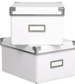 IKEA KASSETT New White Storage Box w/Lid 2PK box 21 x 26 x 1