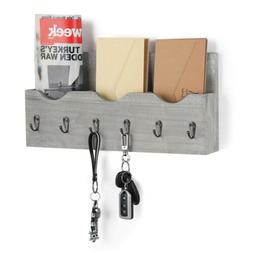 Key Box Rack Letter Organizer Wall Mail Holder Hooks Wood Mo