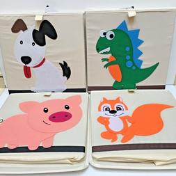 Kids Folding Canvas Sq Storage Toy Box w/Attached Lid & Clos