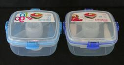 Sistema Klip It To Go Salad Container Utensils Sectional Tra