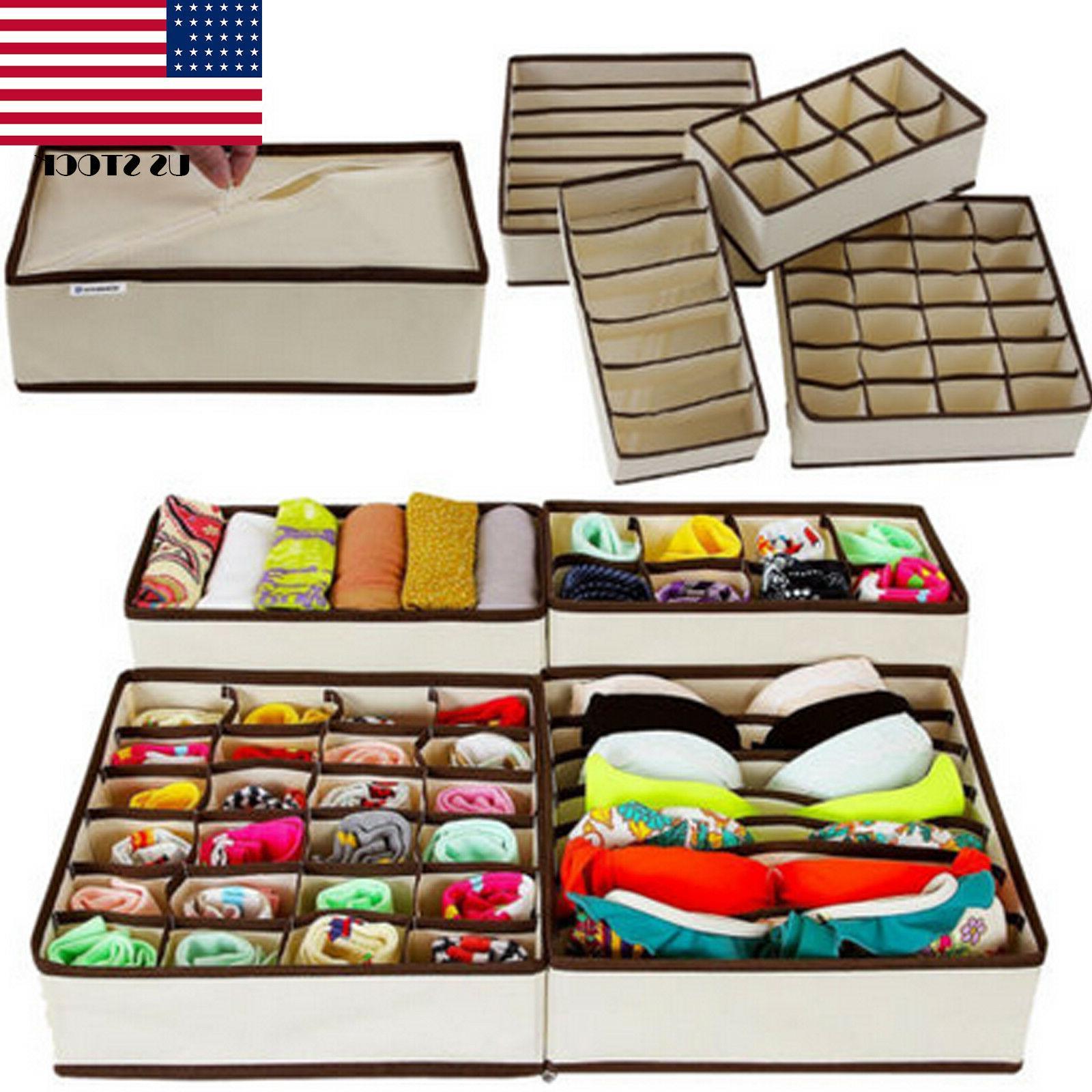 1/4pcs Drawer Closet Organizer Storage Box Container for Und
