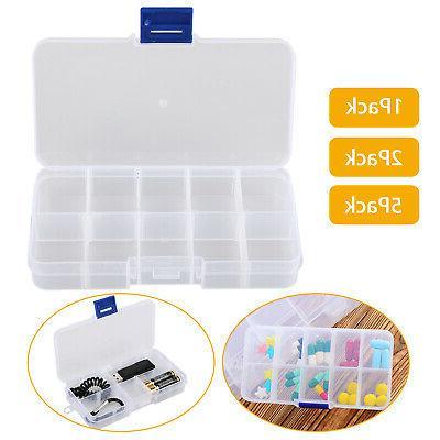 10 compartments clear plastic storage box jewelry